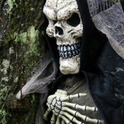 A photo of a grim reaper halloween decoration.