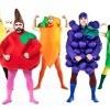 A group of men dressed up like fruit.