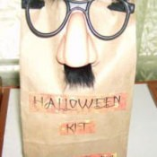 Brown paper bag kit with fun glasses.
