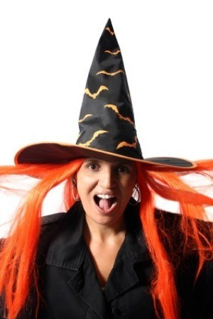Woman Dressed in Witch Halloween Costume