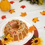 Pumpkin Cake and Fall Decorations
