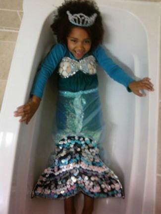 little mermaid in bathtub
