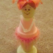 Cute ballerina made from clay flower pots.