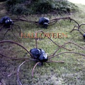 Spiders made from plastic bags for your yard.