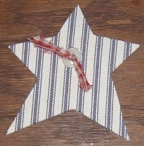 Fabric adhered to magnetic sheet and cut into shape of a star.
