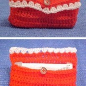 Crochet pouch for purse size tissue package.