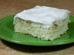 Photo of a piece of pineapple angel food cake.