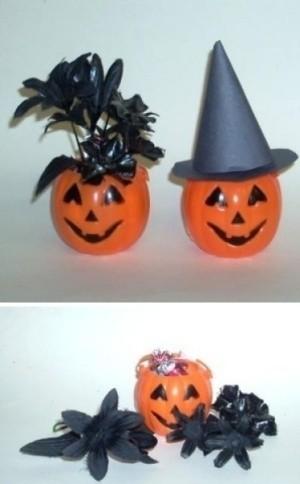 Plastic pumpkin place settings.