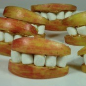 Apple lips and marshmallow teeth create Monster Mouths