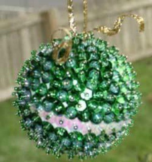 Bead and sequin ornament.