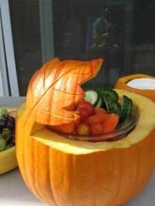 Pumpkin carved with a leaf motif for serving bowl.