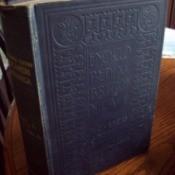 Closeup of cloth bound encyclopedia.