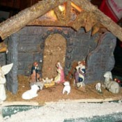 Train Village with Nativity Scene