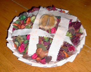 Potpourri filled fabric pie crust.