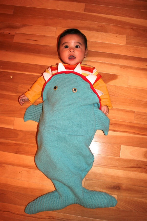 baby in costume  sc 1 st  ThriftyFun.com & Making a Shark Costume for a Baby | ThriftyFun
