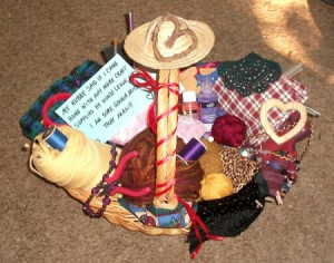 Basket of crafting supplies.