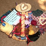 Basket of crafting supplies.