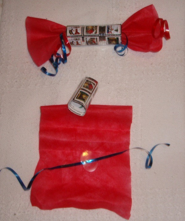 Crafts Made from Christmas Seals - Decorative wrapper made of seal.