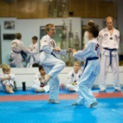 Boys Sparring in Taekwondo Class