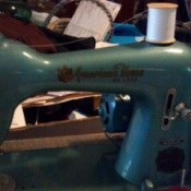 Blue vintage sewing machine.