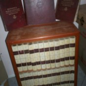 Books on bookshelf.