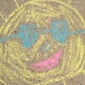 Sidewalk chalk drawing.