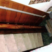 Using wood to slide boxes down stairs