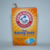 Box of baking soda which can be used to make homemade carpet fresheners.