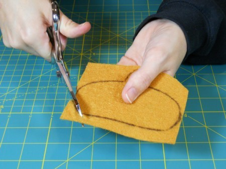 Cutting out acorn cap.