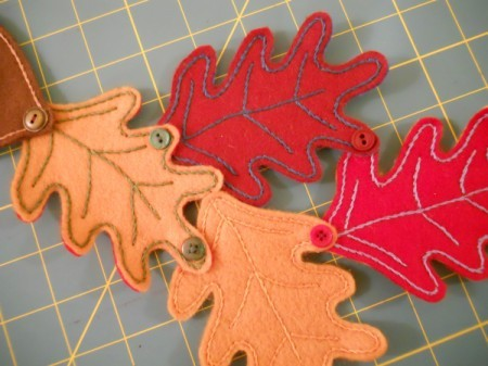 Attaching leaves to each other with buttons.