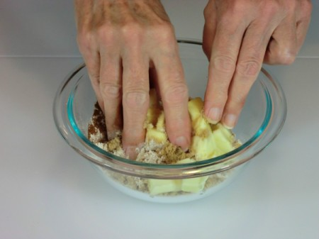 mixing in butter for topping