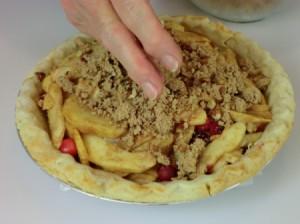 adding crumb topping