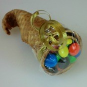 Cornucopia made from a sugar cone