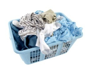 Basket of musty smelling clothing.
