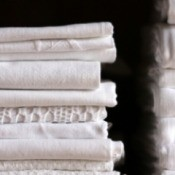 A stack of folded sheets.