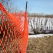 An orange snow fence