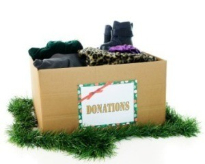Box of Christmas donations.