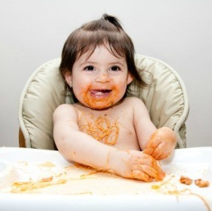 A messy eater making lots of stains.