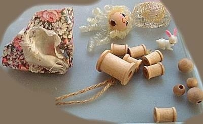 Supplies for spool doll.