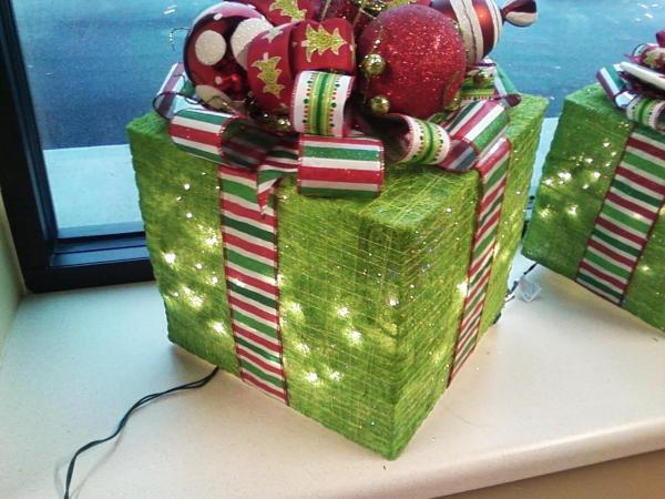 gift box decoration with lights inside