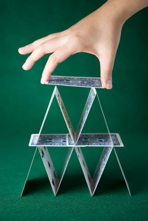 A cardhouse made from a deck of cards