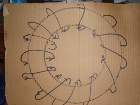 Drawing for wrapping wreath.