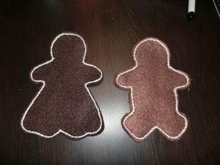 stitched gingerbread people