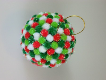 finished pom pom ornament