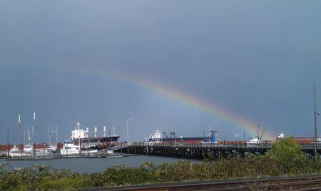 Rainbow over a wharf in Astoria.