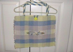 A bag made out of placemats.