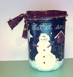 Painted snowman canning jar