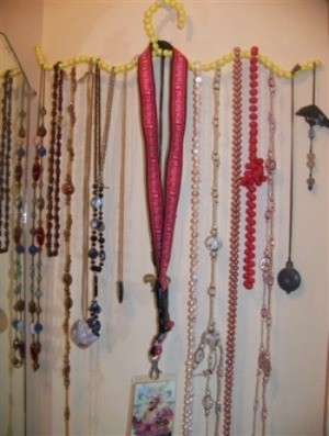 Beaded Wire Coat Hanger for Necklaces