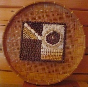 Mosaic made with rice and beans.