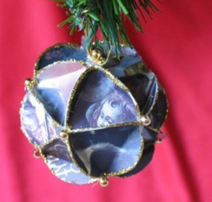 Christmas Card Ball Ornament Thriftyfun